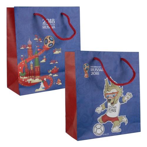 FIFA-2018 пакет подарочный 21х18х8,5 см матовый синий, ручка-шнурок .