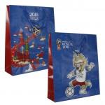 FIFA-2018 пакет подарочный 34*28*9 см Синий ручка-шнурок