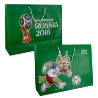 FIFA-2018 пакет подарочный 41*55*15.5см матовый зеленый,ручка-шнурок