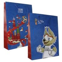 FIFA-2018 пакет подарочный 45*33*10 см матовый синий,ручка-шнурок