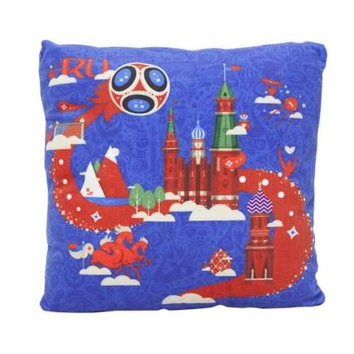 FIFA-2018 плюш.подушка с принтом квадратная 25 см синяя