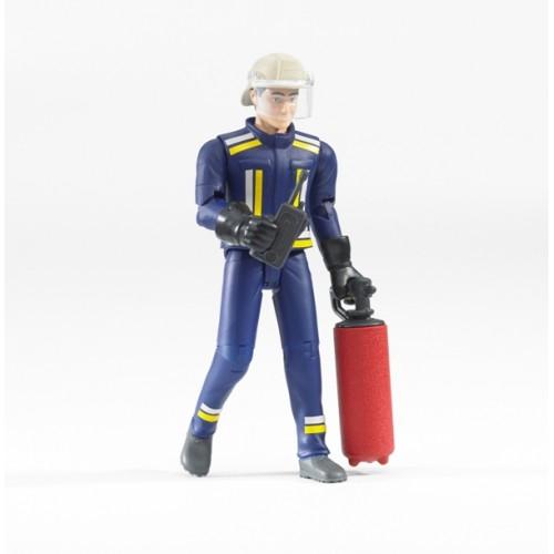 Фигурка пожарного 107мм с огнетушителем и рацией Bruder 60-100