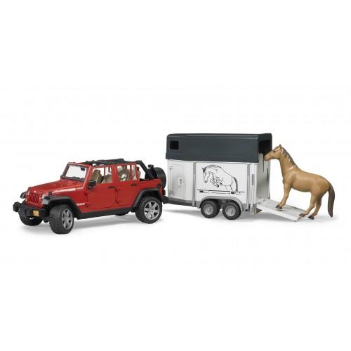 Внедорожник Jeep Wrangler Unlimited Rubicon c прицепом-коневозкой Bruder 02-926