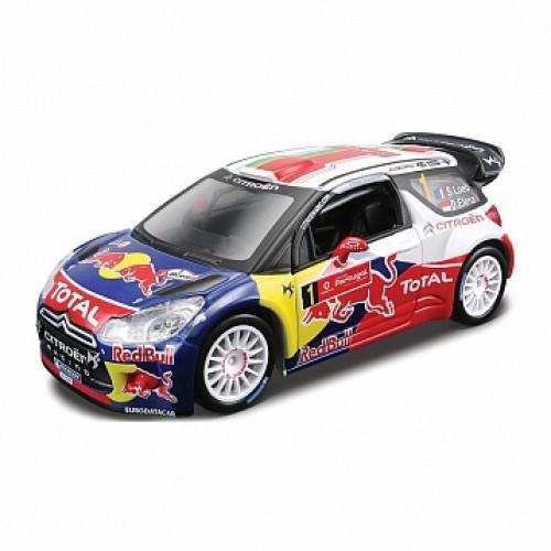 1:32 BB Машина РАЛЛИ - 2011 CITROEN DS3 WRC (Себастьен Лёб) №1 металл. в пластиковом диспенсере Bburago 18-41036