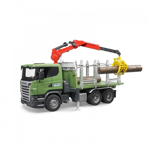 """Лесовоз Scania с портативным краном и брёвнами (подходит модуль со звуком и светом """"H"""") Bruder 03-524"""