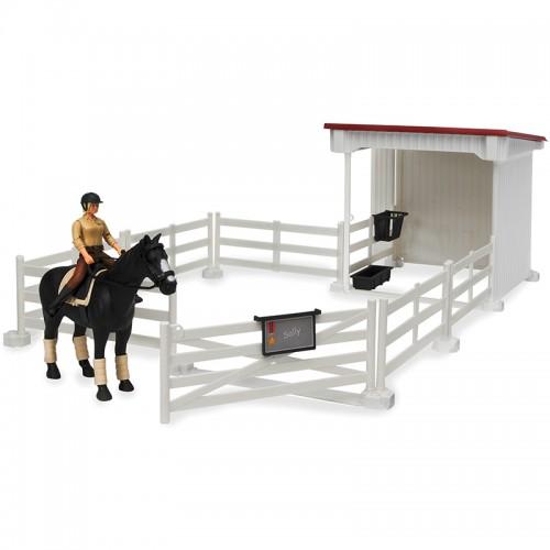 Набор всадницы с загоном и стойлом, лошадью и всадницей с аксессуарами Bruder 62-521