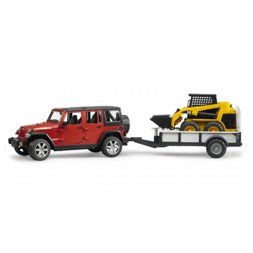 Внедорожник Jeep Wrangler Unlimited Rubicon c прицепом-платформой и колёсным мини погрузчиком CAT Bruder 02-925
