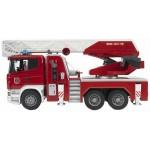 Пожарная машина Scania с выдвижной лестницей и помпой с модулем со световыми и звуковыми эффектами Bruder (Брудер)