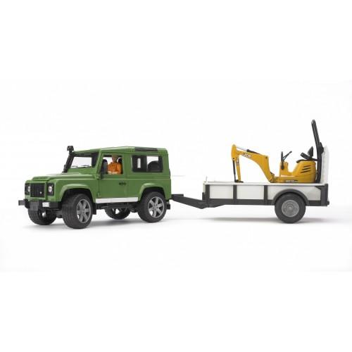 Внедорожник Land Rover Defender c прицепом-платформой. гусеничным мини экскаватором 8010 CTS и рабоч Bruder 02-593