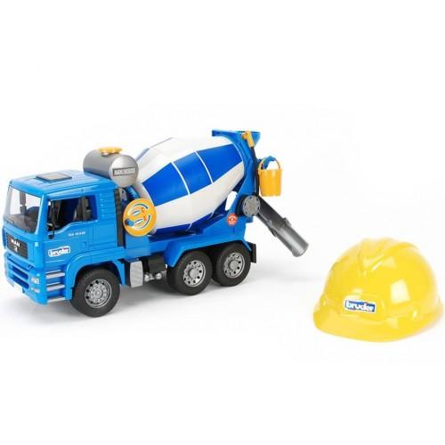 Бетономешалка MAN (цвет синий/серый) + Каска жёлтая Bruder 01-638