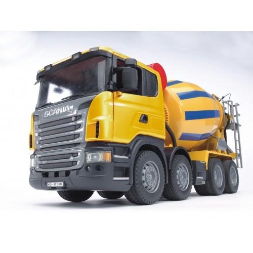 """Бетономешалка Scania (цвет жёлто синий) (подходит модуль со звуком и светом """"H"""") Bruder 03-554"""