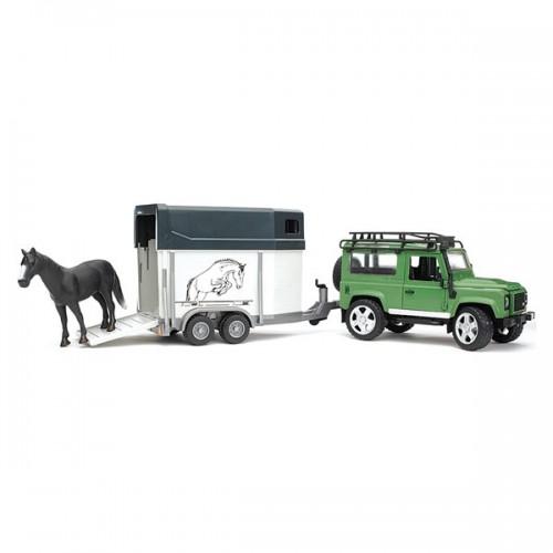 Внедорожник Land Rover Defender с прицепом-коневозкой и лошадью Bruder 02-592