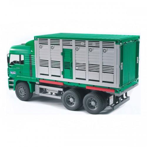 """Фургон MAN для перевозки животных с коровой (подходит модуль со звуком и светом """"H"""") Bruder 02-749"""