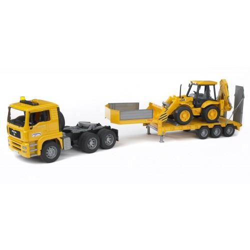 Тягач с прицепом–платформой MAN с колёсным экскаватором–погрузчиком JCB 4CX (подходит модуль со зв Bruder 02-776