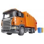 """Мусоровоз Scania (цвет оранжевый) (подходит модуль со звуком и светом """"H"""") Bruder (Брудер)"""