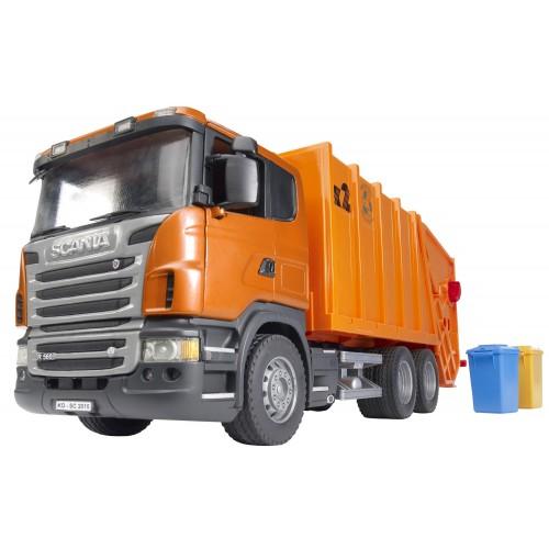 """Мусоровоз Scania (цвет оранжевый) (подходит модуль со звуком и светом """"H"""") Bruder 03-560"""