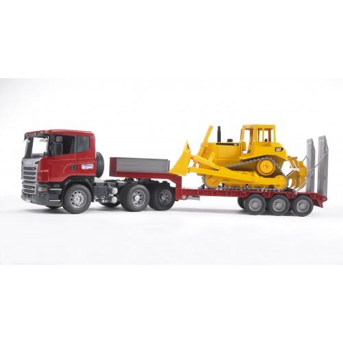 Тягач с прицепом–платформой Scania с гусеничным бульдозером CAT (подходит модуль со звуком и светом) Bruder 03-555