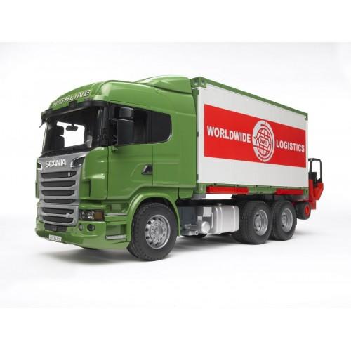 """Фургон Scania с погрузчиком и паллетами (подходит модуль со звуком и светом """"H"""") Bruder 03-580"""