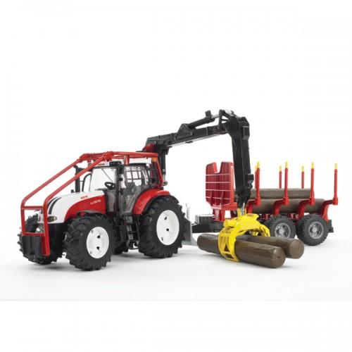 Трактор Steyr CVT 6230 лесной с манипулятором и прицепом с брёвнами Bruder 03-093