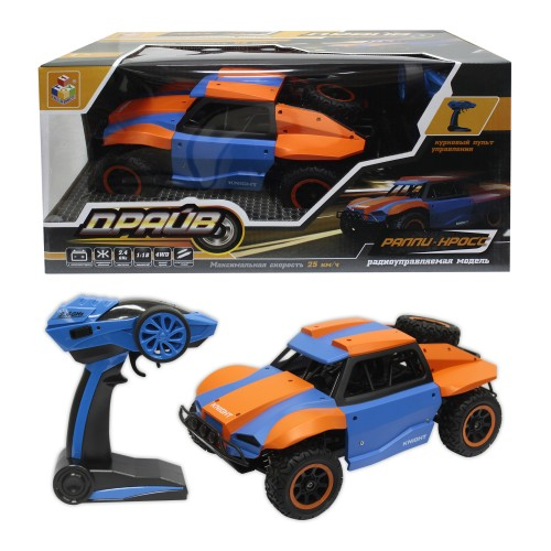 Драйв раллийная машина на р/у голубо-оранжевый масштаб 1:18 1TOY