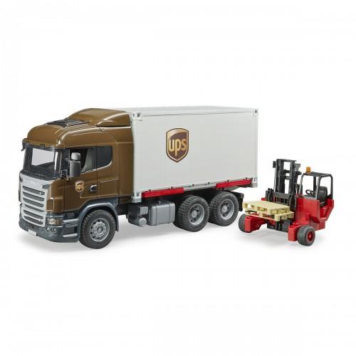 Scania фургон UPS с погрузчиком и паллетами Bruder