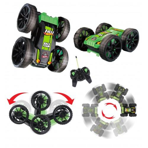 Трюковая машина-перевёртыш на р/у Hot Wheels чёрно-зелёная 1TOY