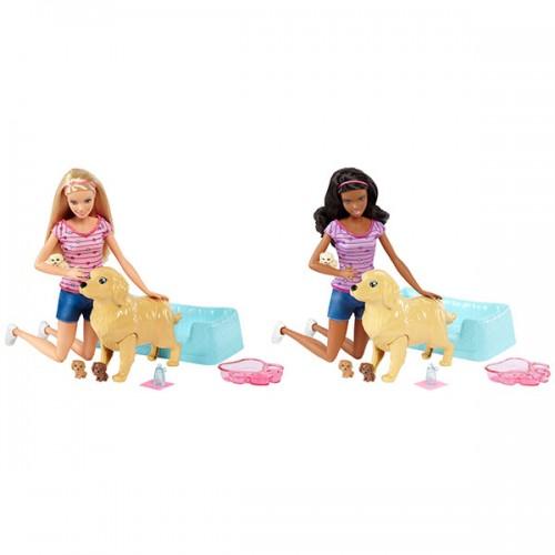 Игровой набор кукла и собака с новорожденными щенками Barbie Барби