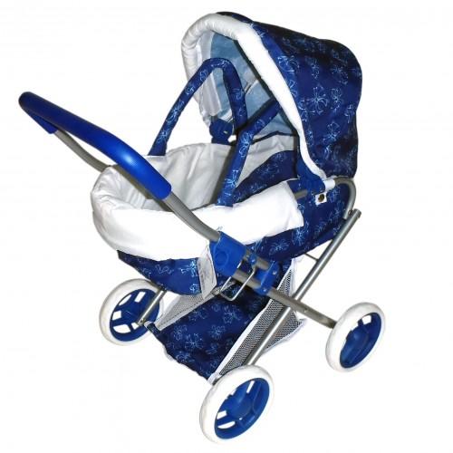 Коляска для кукол с люлькой синяя с бантиками 1TOY