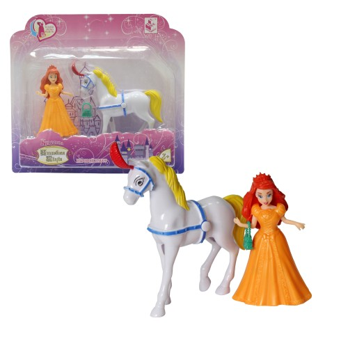 """Красотка """"Волшебная сказка"""" кукла 11см с лошадкой и платьем-прищепкой"""