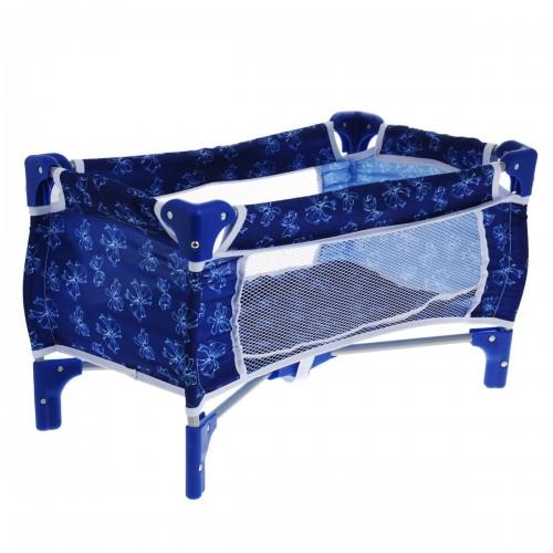 Кроватка для кукол синяя с бантиками 1TOY