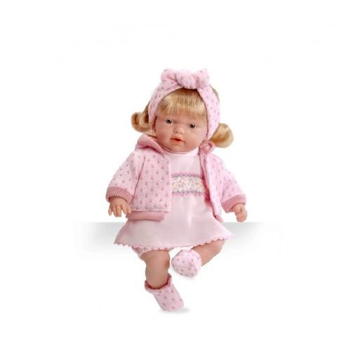 Кукла-блондинка мягкая функциональная в розовой одежке 26см звук Arias