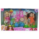"""""""Красотка mini"""" игровой набор из 2х кукол 13 см с посудкой и 2 питомцами"""