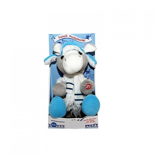 Интерактивная лошадка Нюша ввязаной шапке. 28 см Button Blue 43-4174