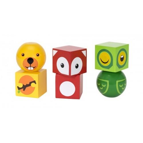 Деревянные кубики на магнитах с животными Brio