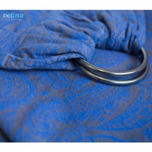 Слинг-шарф с кольцами жаккардовый огурцы индиго Velina