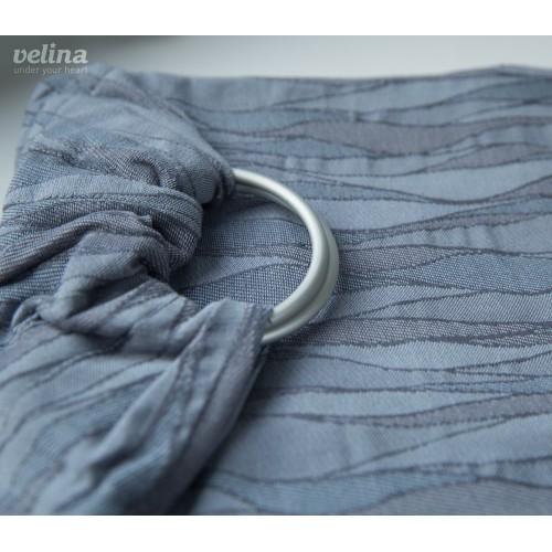 Слинг-шарф с кольцами жаккардовый волны серые Velina