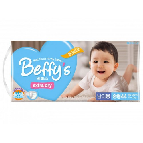 Extra dry подгузники для мальчиков размер M 5-10 кг./44 шт. Beffy's (Беффис)