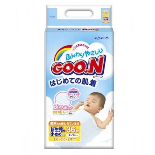 Подгузники до 3кг (36 шт) XXS 1/4 Goon (Гун) Япония