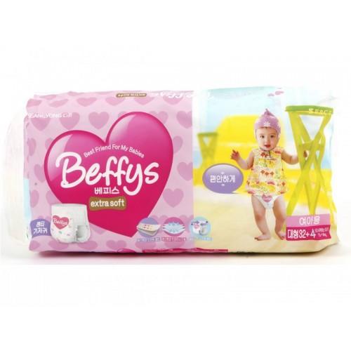 Extra soft трусики-подгузники для девочек размер L 10-14 кг./36 шт. Beffy's (Беффис)