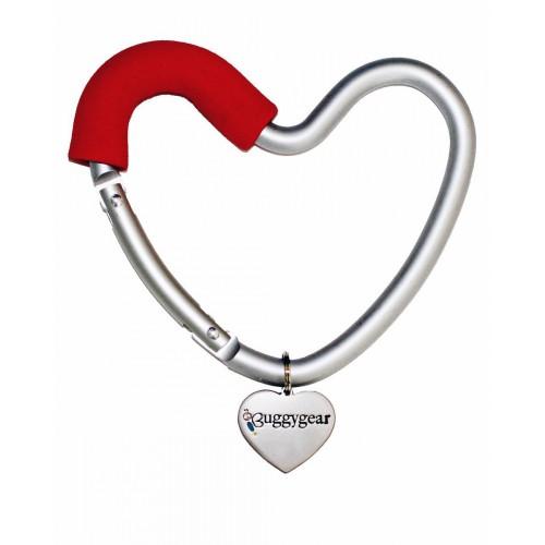 Крепление для сумок Buggygear Сердечко silver/red