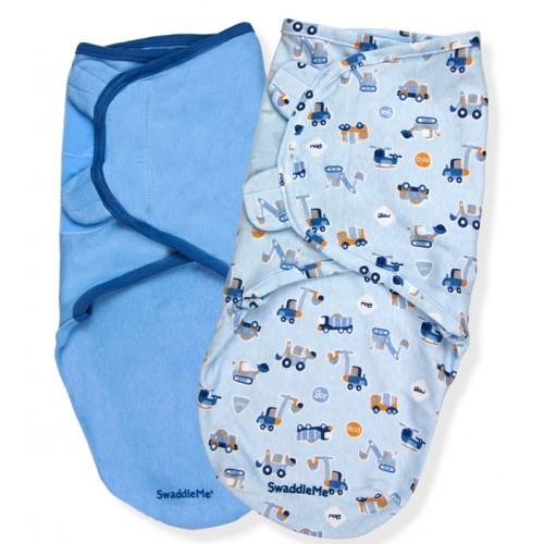 Конверт на липучке Swaddleme, (2 шт.), размер L, синий/машинки Summer Infant