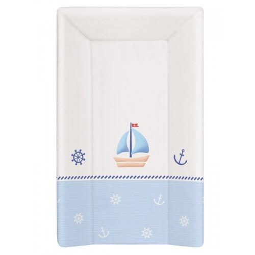 Матрац пеленальный Ceba Baby 70 см с изголовьем на кровать 120*60 см Marine white-blue W-201-010-009