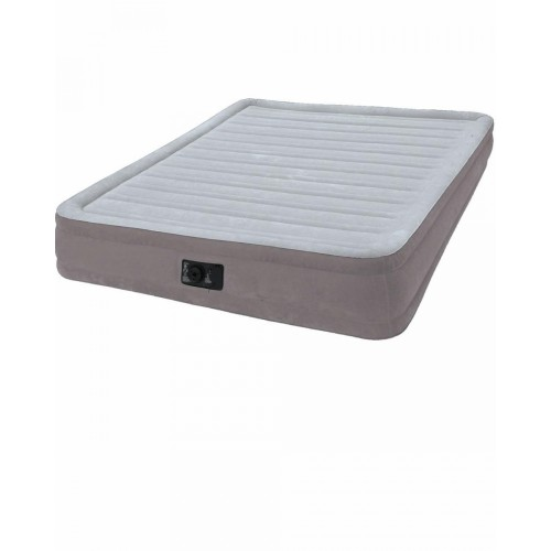 Надувной матрас комфорт-плюш 152х203х33см, встроенный электрический насос Intex (Интекс)