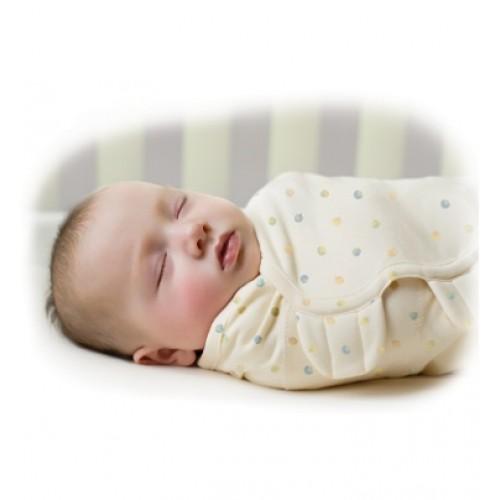 Конверт на липучке SwaddleMe Organic, размер S/M, кремовый/точки Summer Infant