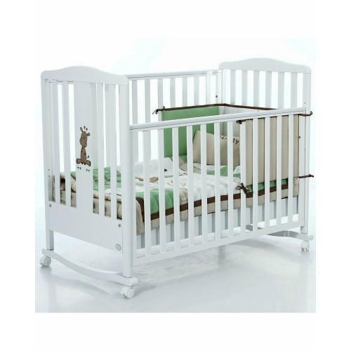 Кровать Raffy (Бамболина Раффи) 120*60см белый + набор белья Holiday Bambolina
