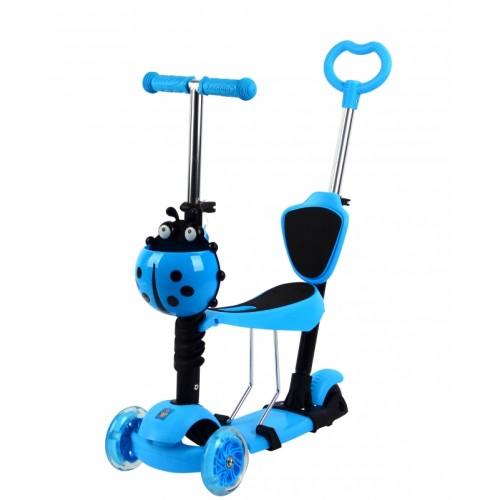 Самокат 3х колесный 5 в 1 управление наклоном, колеса со светом, голубой 1TOY
