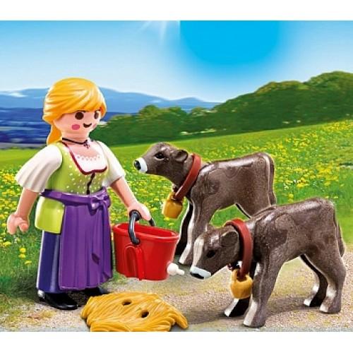 Дополнение: Крестьянка с телятами Playmobil 4778pm