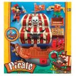 """Игровой набор """"Приключение пиратов. Битва за остров"""" (корабль с КРАСНЫМ парусом, пираты, сокровища) Keenway"""