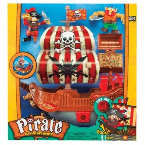 """Игровой набор """"Приключение пиратов. Битва за остров"""" (корабль с КРАСНЫМ парусом, пираты, сокровища) Keenway 10754"""