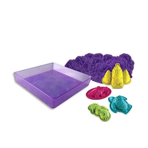 Набор, Кинетический песок для лепки 1 яркий цвет, 454 гр, лоток, 4 формочки